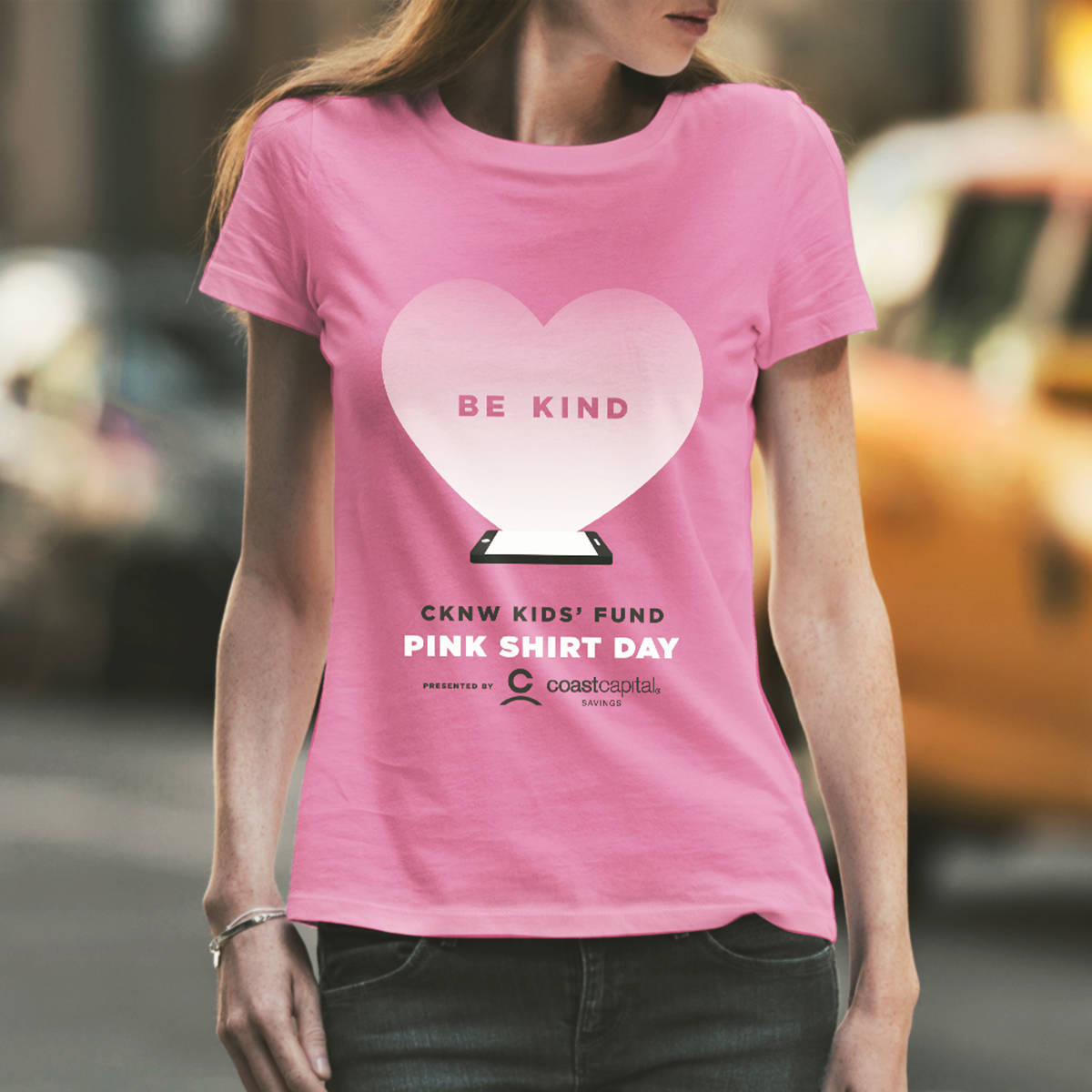 """A """"Be Kind"""" message is printed on the 2019 Pink Shirt Day T-shirts available at London Drugs stores and online at pinkshirtday.ca. (submitted photo)"""