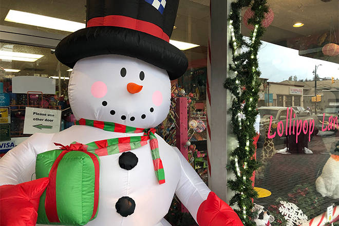 The City of Vernon has allowed Vernon Teach and Learn to keep Frosty on 30th Avenue, but the store will have to pay for a permit next year. (Brendan Shykora - Morning Star)