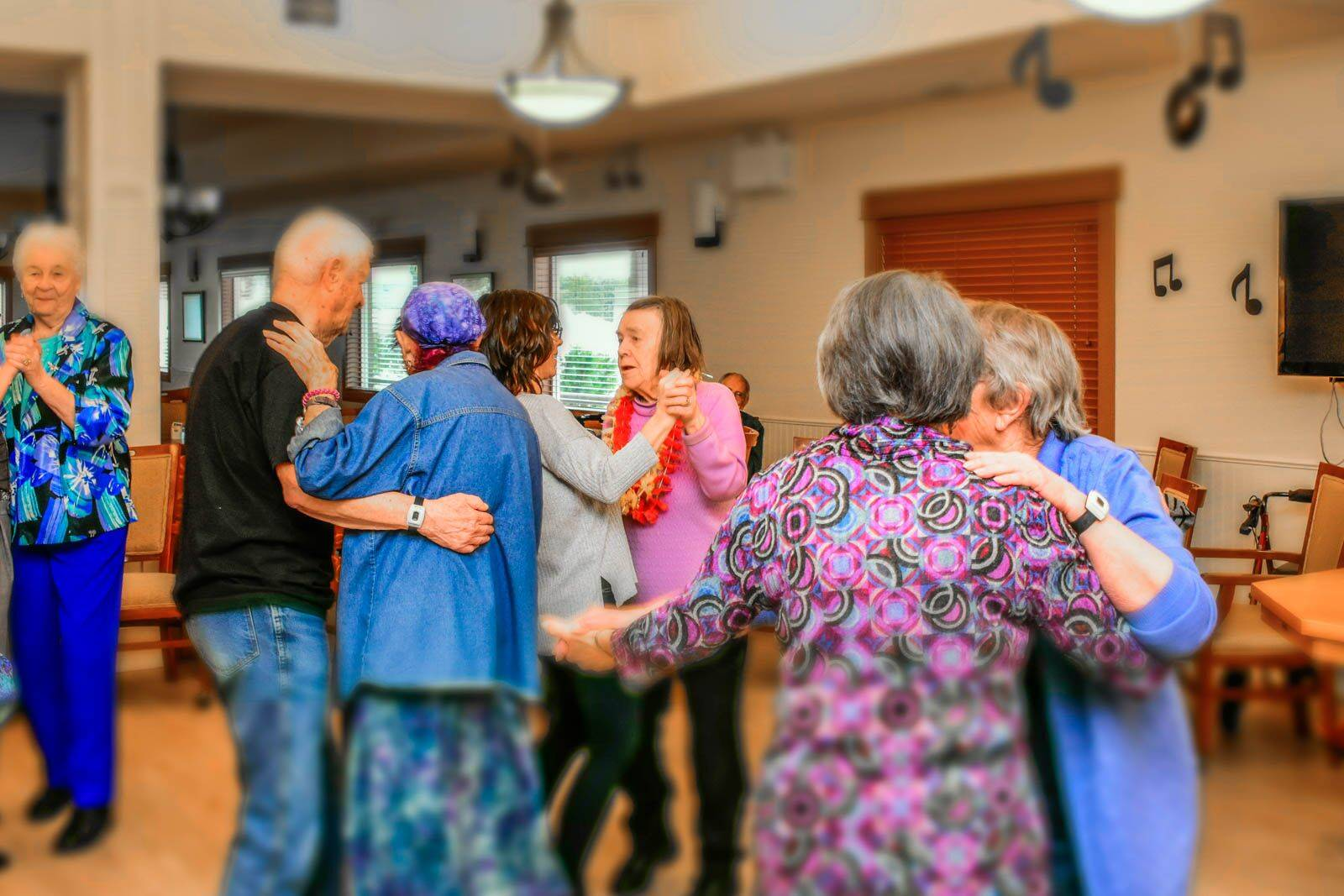 Heaton Place residents took part in the retirement community's first dance party stocked full with props and a photo booth. (Carrie O'Neill photo)