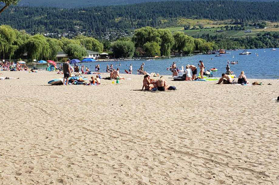 Beachgoers relax in the sun at Kal Lake Beach in Coldstream on July 23, 2020. (Justin Ketterer - Contributed)