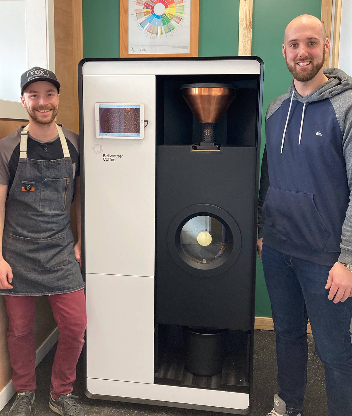 Robin Konjer and Landon Zabolotniuk's startup business, Multiply Coffee, supplies Vernon-area shops with coffee roasted fresh, using a zero-emission roaster. (Contributed)