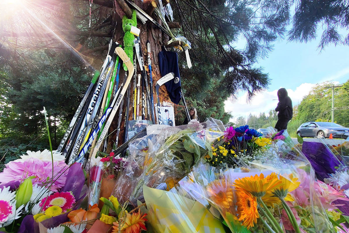 A moment after a teenage girl dropped off flowers and a personalized note Monday afternoon, a beam of light filtered through the tree branches where Surrey's Caleb Reimer, 16, Ronin Sharma, 16, and Parker Magnuson, 17, were killed early Saturday morning. The loss has been felt across the City of Surrey and North American hockey community. (Aaron Hinks photo)